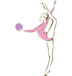 Rhythmic gymnast holding a ball vector image vector image