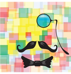 Vintage silhouette of mustaches monocle vector image