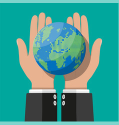 world map silhouette globe in hand vector image