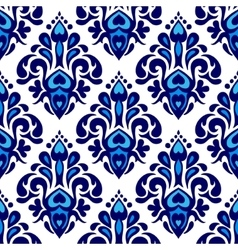 Damask flower seamless pattern blue and white vector image vector image