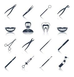 Dental instruments icons set black vector image