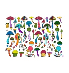 Fantastic mushrooms set sketch for your design vector image
