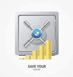 Safe and Money Golden Coins vector image