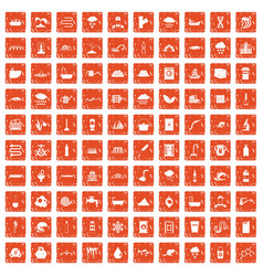 100 water supply icons set grunge orange vector