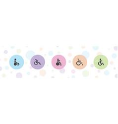 5 wheelchair icons vector
