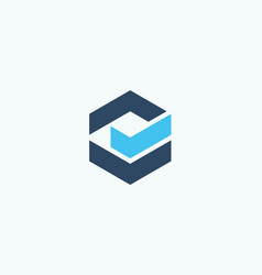 abstract geometric logo concept check mark icon vector image
