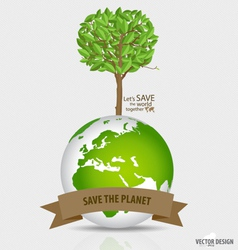 Abstract tree on green globe vector