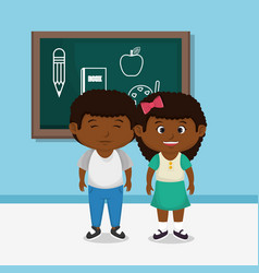 Afro school kids couple with chalkboard vector