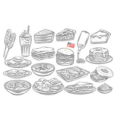 american food outline icon vector image