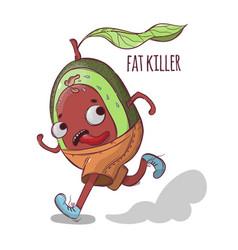 avocado fat killer sport tropical fruit vector image