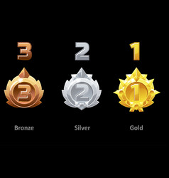 Awards medals gold silver and bronze rewards 1st vector