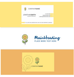 beautiful flower logo and business card vertical vector image