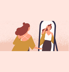 beautiful woman looking at mirror flat vector image