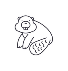 beaver line icon concept beaver linear vector image