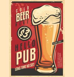 beer pub wall decor advertisement vector image