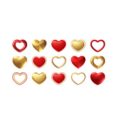 big valentines day set different realistic gold vector image