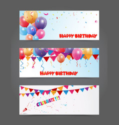 Birthday and celebration banner with colorful ball vector