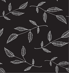 Black an white floral seamless pattern background vector