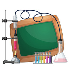 board template with science equipments vector image vector image
