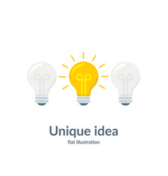 bright idea concept with light bulb unique idea vector image