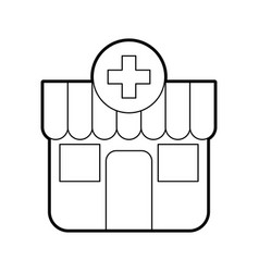 Building exterior pharmacy cross medical vector