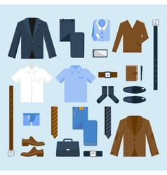 Businessman clothes icons set vector