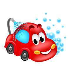 cartoon car wash service isolated vector image