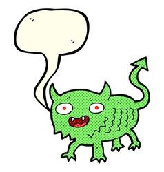 Cartoon little demon with speech bubble vector