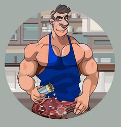Cartoon muscular bodybuilder man preparing meat vector