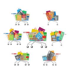 Carts set seven full cartoon shopping trolleys vector