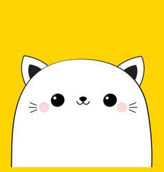 Cat head face icon cute cartoon kawaii funny vector