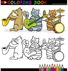 Cats Band for Coloring Book or Page vector image