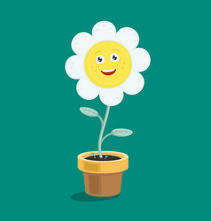 character daisy flower in a pot vector image