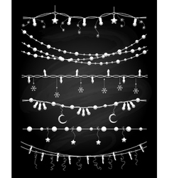 Christmas garlands or chalkboard vector