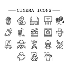 Cinema web silhouettes collection vector image