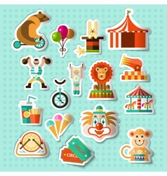 Circus stickers set vector image