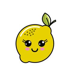 color kawaii happy lemon icon vector image