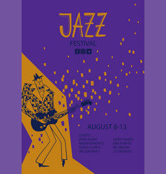 colorful jazz poster with cartoon guitar player vector image