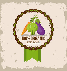 Colorful logo of organic best food with carrot vector