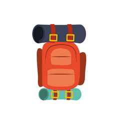 colorful silhouette with camping backpack vector image