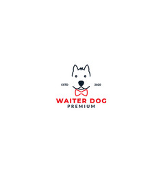 Cool dog face with tie logo design vector