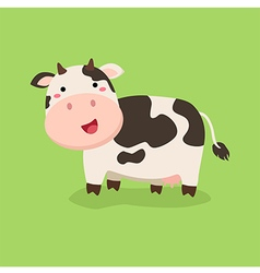 Cute Cow Standing in Green Background vector