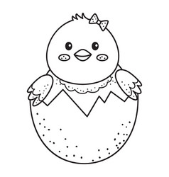 cute outline doodle chicken in shellhand drawn vector image