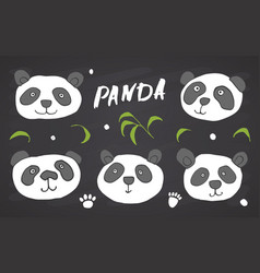 cute panda bear doodles set cute animals sketch vector image