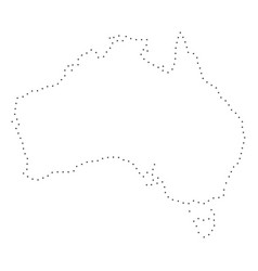 dotted stroke australia map vector image