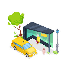 downtown taxi stop isometric 3d icon vector image