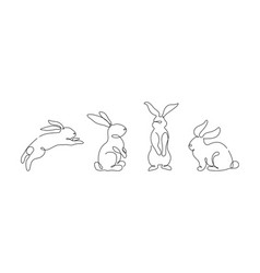 easter bunny set in simple one line style rabbit vector image