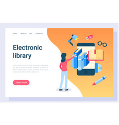 electronic library student with access to books vector image