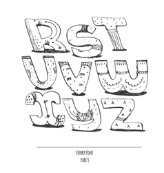 English hand drawn funky font from r to z vector