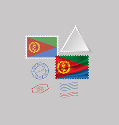 Eritrea flag postage stamp set isolated on gray vector